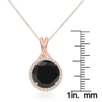 5 Carat Black and White Diamond Halo Necklace In 14 Karat Rose Gold