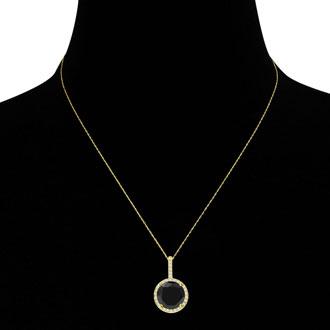 4 1/4 Carat Black and White Diamond Halo Necklace In 14 Karat Yellow Gold