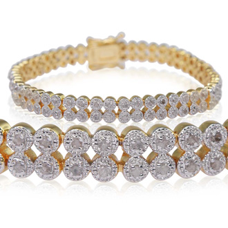 Fine Quality 1 Carat Diamond Bracelet, Two Row, Yellow Gold Overlay