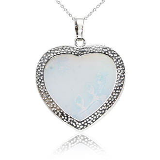 Sterling Silver Opal Heart Necklace With Rose Accents, 18 Inches