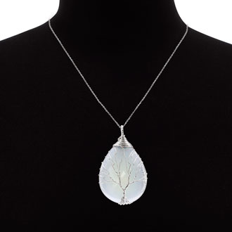 Sterling Silver Tree of Life Wire Wrapped Opal Teardrop Necklace, 18 Inches