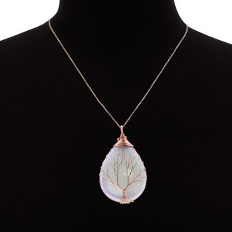 Rose Gold Tree of Life Wire Wrapped Opal Teardrop Necklace, 18 Inches