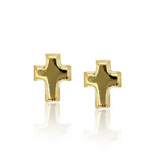 14K Yellow Gold Classic Cross Stud Earrings
