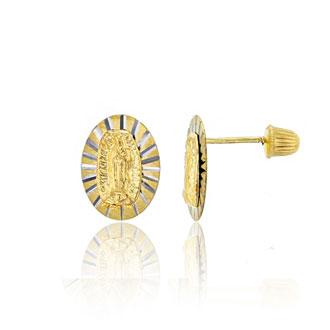 14K Yellow Gold Textured Virgin Mary Stud Earrings
