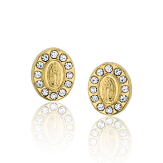 14K Yellow Gold Cubic Zirconia Virgin Mary Medallion Stud Earrings