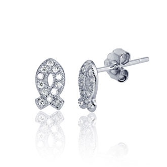 Children's Sterling Silver Embellished Religious Fish Stud Earrings