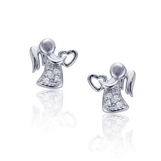 Children's Sterling Silver Embellished Angel Stud Earrings