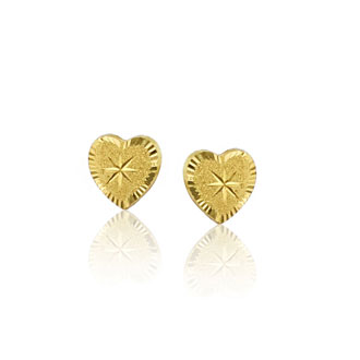 Children's 14K Yellow Gold Hearts and Stars Stud Earrings