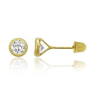 Children's 14K Yellow Gold 4MM Round Bezel Cubic Zirconia Stud Earrings