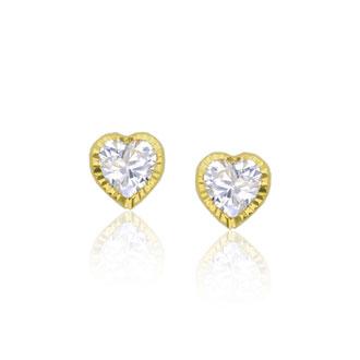 Children's 14K Yellow Gold 4MM Heart Bezel Cubic Zirconia Stud Earrings