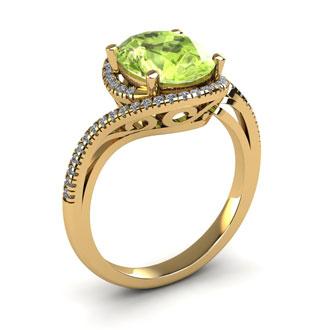 1 Carat Oval Shape Peridot and Halo Diamond Ring In 14 Karat Yellow Gold