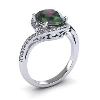 1 Carat Oval Shape Mystic Topaz and Halo Diamond Ring In 14 Karat White Gold
