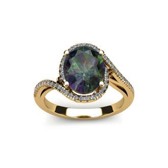 1 Carat Oval Shape Mystic Topaz and Halo Diamond Ring In 14 Karat Yellow Gold