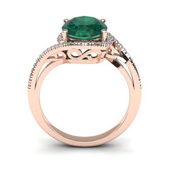 1 Carat Oval Shape Emerald and Halo Diamond Ring In 14 Karat Rose Gold