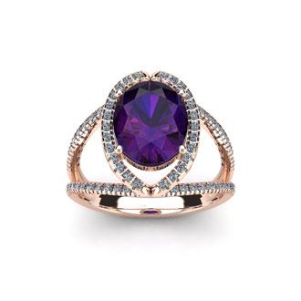 1 1/2 Carat Oval Shape Amethyst and Halo Diamond Ring In 14 Karat Rose Gold