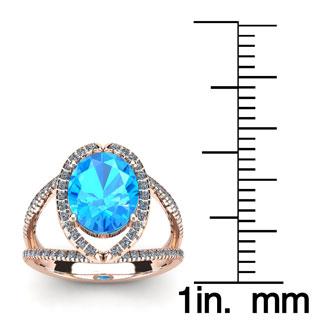 2 Carat Oval Shape Blue Topaz and Halo Diamond Ring In 14 Karat Rose Gold