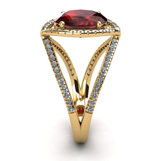 2 Carat Oval Shape Garnet and Halo Diamond Ring In 14 Karat Yellow Gold