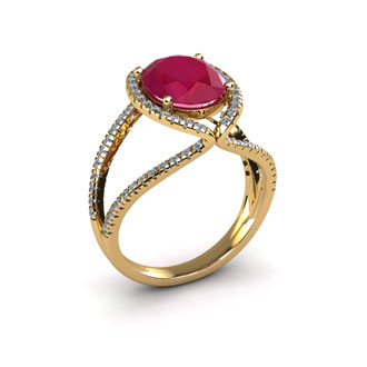 2 Carat Oval Shape Ruby and Halo Diamond Ring In 14 Karat Yellow Gold