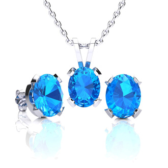 3 Carat Oval Shape Blue Topaz Necklace and Earring Set In Sterling Silver