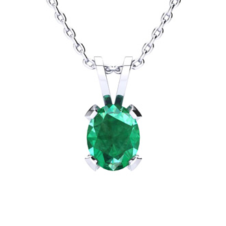 2 1/2 Carat Oval Shape Emerald Necklace and Earring Set In Sterling Silver