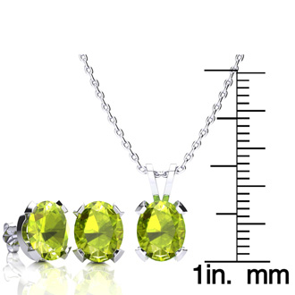 4 Carat Oval Shape Peridot Necklace and Earring Set In Sterling Silver