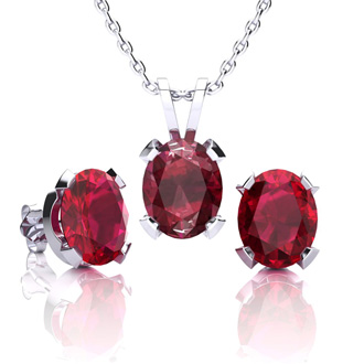 4 2/3 Carat Oval Shape Ruby Necklace and Earring Set In Sterling Silver