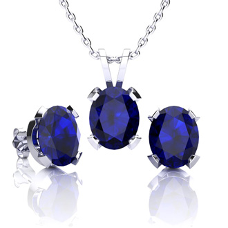 5 Carat Oval Shape Sapphire Necklace and Earring Set In Sterling Silver