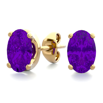 1 Carat Oval Shape Amethyst Stud Earrings In 14K Yellow Gold Over Sterling Silver