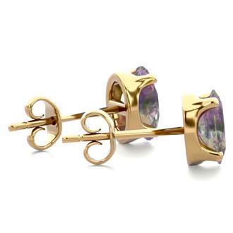 1 Carat Oval Shape Mystic Topaz Stud Earrings In 14K Yellow Gold Over Sterling Silver
