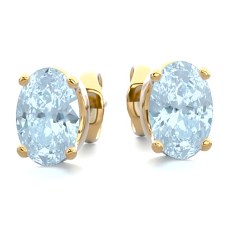 1 Carat Oval Shape Aquamarine Stud Earrings In 14K Yellow Gold Over Sterling Silver