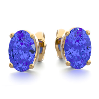 1 Carat Oval Shape Tanzanite Stud Earrings In 14K Yellow Gold Over Sterling Silver