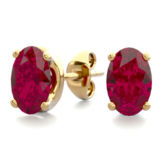 1 Carat Oval Shape Ruby Stud Earrings In 14K Yellow Gold Over Sterling Silver
