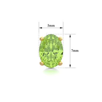 1 3/4 Carat Oval Shape Peridot Stud Earrings In 14K Yellow Gold Over Sterling Silver