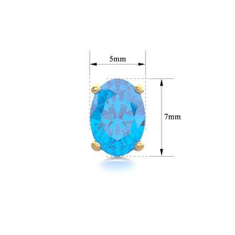 2 Carat Oval Shape Blue Topaz Stud Earrings In 14K Yellow Gold Over Sterling Silver