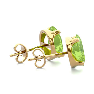 2 3/4 Carat Oval Shape Peridot Stud Earrings In 14K Yellow Gold Over Sterling Silver