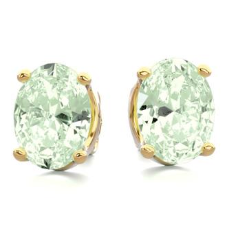 2 Carat Oval Shape Green Amethyst Stud Earrings In 14K Yellow Gold Over Sterling Silver