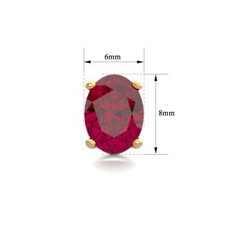 3 Carat Oval Shape Ruby Stud Earrings In 14K Yellow Gold Over Sterling Silver