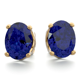 3 Carat Oval Shape Sapphire Stud Earrings In 14K Yellow Gold Over Sterling Silver