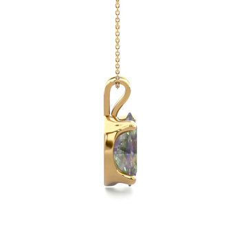 1 Carat Oval Shape Mystic Topaz Necklace In 14K Yellow Gold Over Sterling Silver, 18 Inches
