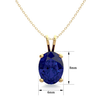 1 1/2 Carat Oval Shape Sapphire Necklace In 14K Yellow Gold Over Sterling Silver, 18 Inches