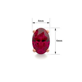 1 Carat Oval Shape Ruby Stud Earrings In 14K Rose Gold Over Sterling Silver
