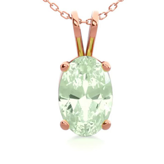 1/2 Carat Oval Shape Green Amethyst Necklace In 14K Rose Gold Over Sterling Silver, 18 Inches