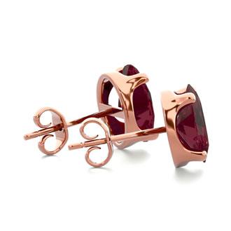 3 Carat Oval Shape Garnet Stud Earrings In 14K Rose Gold Over Sterling Silver