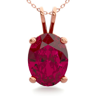 1 1/2 Carat Oval Shape Ruby Necklace In 14K Rose Gold Over Sterling Silver, 18 Inches