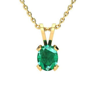 1 1/3 Carat Oval Shape Emerald Necklace and Earring Set In 14K Yellow Gold Over Sterling Silver