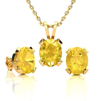 3 Carat Oval Shape Citrine Necklace and Earring Set In 14K Yellow Gold Over Sterling Silver