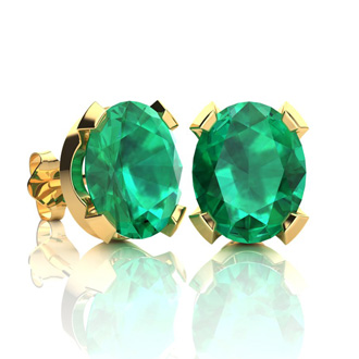 3 1/2 Carat Oval Shape Emerald Necklace and Earring Set In 14K Yellow Gold Over Sterling Silver