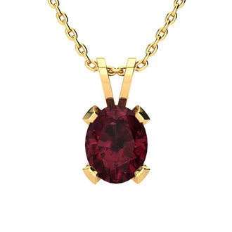 4 1/2 Carat Oval Shape Garnet Necklace and Earring Set In 14K Yellow Gold Over Sterling Silver