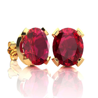 4 2/3 Carat Oval Shape Ruby Necklace and Earring Set In 14K Yellow Gold Over Sterling Silver