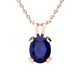 5 Carat Oval Shape Sapphire Necklace and Earring Set In 14K Rose Gold Over Sterling Silver